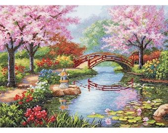 Counted Cross Stitch Dimensions KIT Japanese Garden 16x12 -Free US Shipping!!!