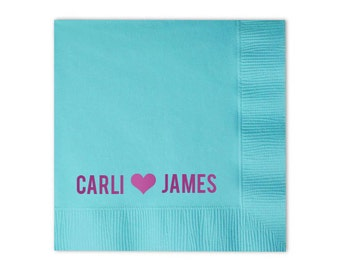Hearts in Love Personalized Napkins - Set of 100 - Custom Printed Napkins, Foil Stamped Napkins, Party Decor, Party Decorations, Names Heart