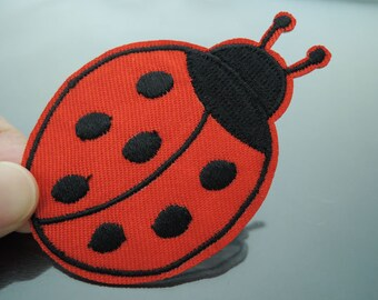 Beetle Patch Insect patches Red Black patch Applique embroidered patch Iron On Patch Sew On Patch