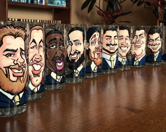 Set of 11 Caricature Groomsmen Mugs