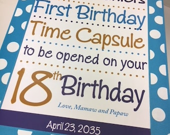 First Birthday Time Capsule- custom colors