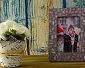 Pink Mosaic Picture Frame,