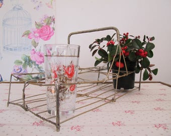 Basket storage iron wire glasses glasses holder pot holder glass vintage tray customized servant-gold glasses