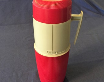 Vintage Red and Beige Wide Mouth One Quart Thermos