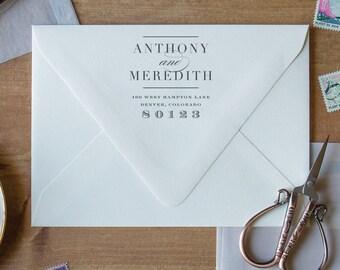 Wedding Stamp for Wedding Invitation, Return Address Stamp for Wedding Invitations Stamp, Monogram Stamp Address Stamp for Two Names