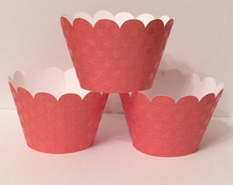 Set of 6 Orange Stars Cupcake Wrappers, Party decorations, cupcake holders, party supplies, cupcake wraps, cupcake sleeves, paper goods