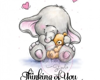 Clear Stamp Elephant BELLA WITH TEDDY Thinking of You Card Making Scrapbooking Papercrafts Decoupage Stamping Gift for Her Him - 2 Stamp Set