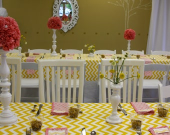 Yellow and White Chevron Table Cloth for wedding table, baby shower, wedding shower, birthday party
