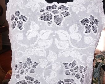 white cropped lace tank with back bow