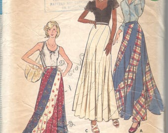 Butterick 3557  1970s Misses Swirl Skirt Pattern Maxi Swirler Pattern Womens Vintage Sewing Pattern Size Small Waist 25  Hip 34 1/2 Or 26