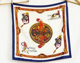 Vintage Book Of Kells Ireland Silk Scarf/Celtic/Souvenir