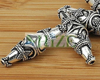 HIZE BB343 925 Bali Sterling Silver Fine Oval Tube Focal Beads 27x9mm (2)