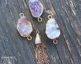 Gold Druzy and tassel set  = DIY Jewelry