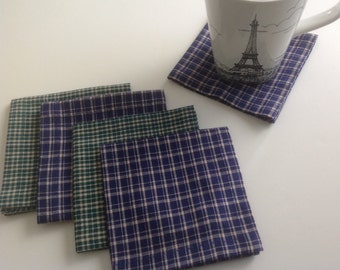 Green Plaid and Blue Plaid Cocktail Napkins Beverage Napkins Appetizer Napkins - set of 8