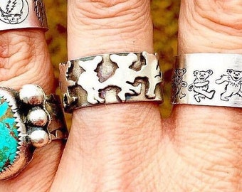 Sterling Silver Grateful Dead Dancing Bears Men/Womans Ring, All Sizes Available