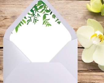 A7 Envelope Liner, Euro Flap, Green Wedding, Envelope liner, printable envelope, printable liner, liner template, diy printable, liners