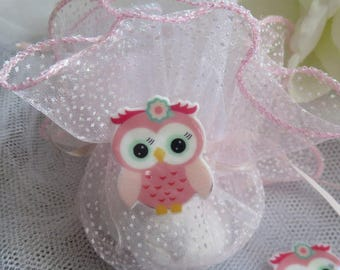 5 OWL figurines resin subjects for birthday or christening