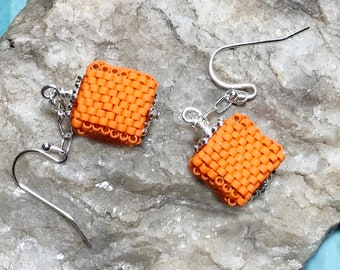 Orange Cube Earrings Beaded Cube Earrings Orange Bead Earrings Beaded Cube Dangles Cube Earrings Cube Dangle Earrings Beadwork Earrings