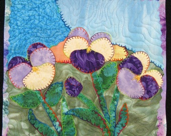"Whimsical Pansy Art Quilt, Quilted Wall Hanging, Flower Fiber Art Quilt, Handmade Quilt, Home Decor, Gift for Pansy Lover, 10"" x 10 """