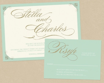 Custom Wedding Invite, RSVP and 2 insert cards - Printable - Mint and Silver Glitter - Gorgeous and Dreamy - Reserved Listing