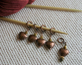 Stitch Markers for Knitting, Hammered Metal Hearts, Copper, Set of 5