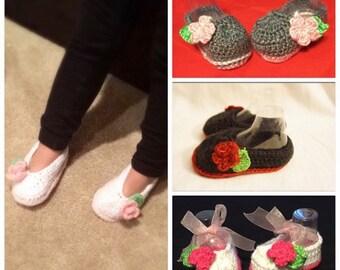 Baby Girl Crochet Slippers