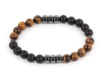 Matte Onyx & Tigers Eye Men's Bracelet