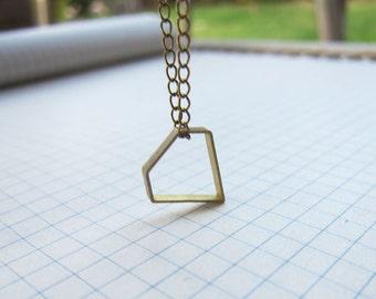 Brass Hollow Diamond Pendant Necklace Antique Brass Chain Geometric