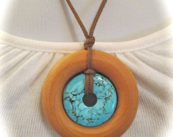 ORGANIC Teething Necklace / Nursing Necklace on Certified Organic Cotton Cord (Adjustable) - Turquoise & Natural Wood