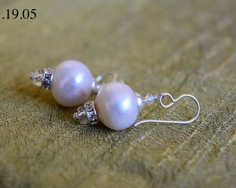 Large Natural Freshwater Pearl Earrings with Swarovski Sterling Silver Rondelle and Hook
