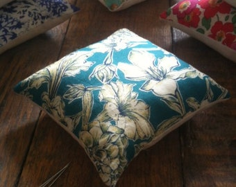 Pin cushion, handmade with Liberty fabrics, Sheree