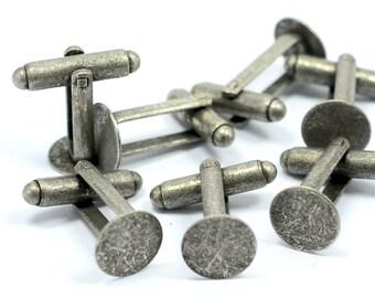 40 Pcs. (20 Pair ) Antique Silver 10 mm Glue Pad Cufflink Blanks