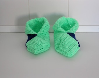 booties in blue and green crochet wool size 40-41