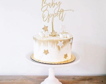 Custom Script Wood Baby Cake Topper for Baby Shower, Gender Reveal and Special Event.
