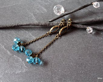 Clip earrings bronze, blue glass beads