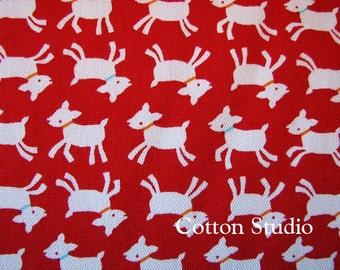 Goat Farm Animal Japanese Fabric Red 1 Yard