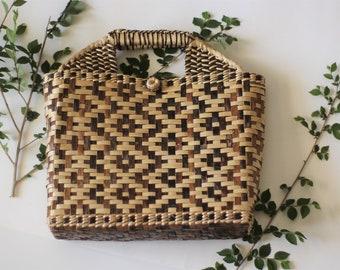 Vintage Geometric Patterned Straw Handbag | Boho Style | Styling Prop | 1970s Style | Retro Accessory | Wicker Purse | Rattan purse