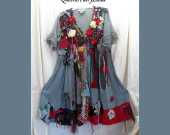 """Art to Wear Gray/Reds/Black Tattered tie dyed Dress, Bust 36-38"""", Size M, Junk Gypsy Style, Eco Friendly, Altered Couture Tunic, Boho, Q472"""