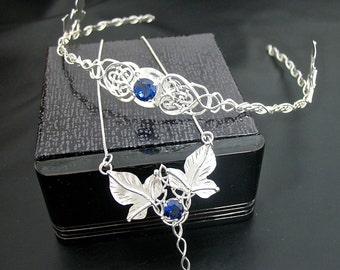 Wedding Set Celtic Leaves Trinity Knot Headpiece, Trinity Knot Leaves Necklace, Leaf Earrings, Irish Wedding, Handmade, Sterling Silver