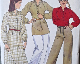 Willi Smith 1980's Butterick 5986 Vintage Sewing Pattern Misses' Raglan Sleeve Dress and Tunic with Drawstring Pants Size 10 Bust 32.5