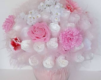 Diaper bouquet - baby shower centerpiece - baby shower decorations - unique baby gift - new baby gift- garden bouquet - baby shower gift