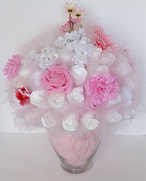 Diaper bouquet baby shower centerpiece baby shower