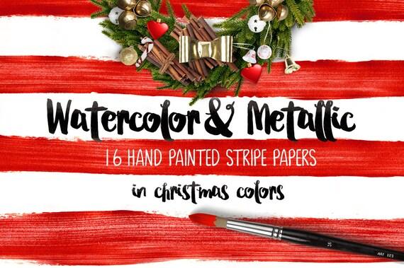 Digital paper, Watercolor & Metallic Stripes - 16 digital pattern backgrounds