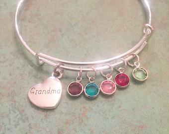 Grandma birthstone bracelet, charm bracelet, grandma bracelet, grandma gift, personalized, birthday gift, grandma bangle, swarovski crystal,