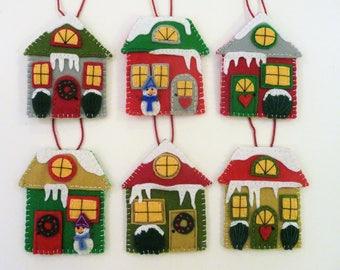Felt House Ornaments, Set of Houses, Village Decorations, Christmas Houses, Felt Village, Colorful Houses, Colorful Decor, Friendly Village