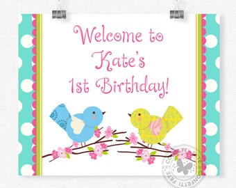 Bird Welcome Sign, Little Birdie Birthday Sign, Birdie Party Decorations, Cherry Blossoms Bird Sign, Printable 8x10 Sign