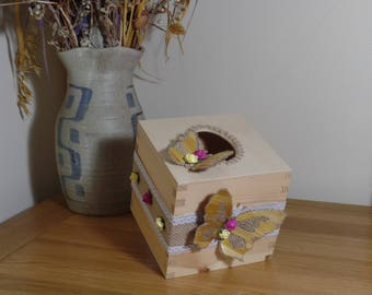 Shabby Chic,butterfly,wooden,make up,tissue,box,holder,ribbon,beige