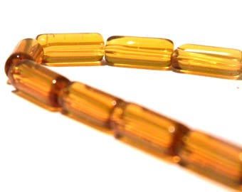 translucent glass - bead tube - G95 2 tube translucent glass - 10 x 4 mm - 30 beads - amber bead
