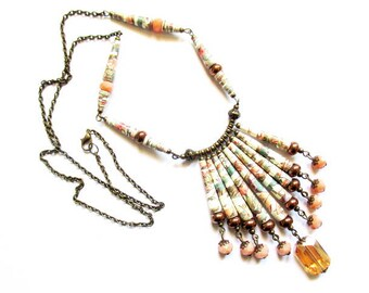 paper cone Bohemian Pearl bib necklace 80cm bronze metal R59 romantic