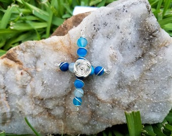 Blue agate wire wrapped cross with rose.